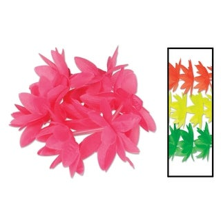 Pack of 12 Tropical Luau Party Neon Lotus Flower Wristlet/Anklet Bracelets 10""