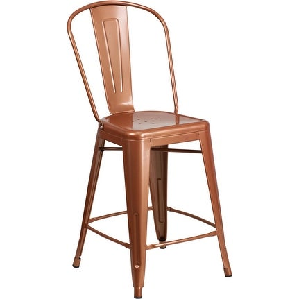 Brimmes 24'' High Copper Metal Indoor/Outdoor/Patio/Bar Counter Height Stool w/Back