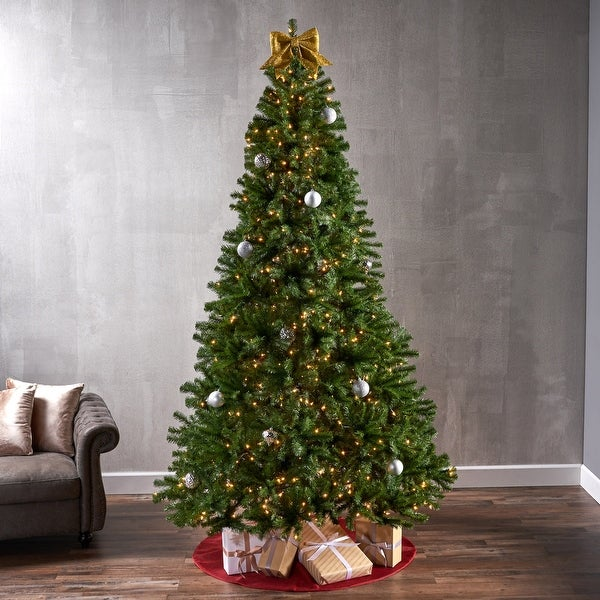 9-foot Noble Fir Pre-Lit String Light or Unlit Hinged Artificial Christmas Tree by Christopher Knight Home. Opens flyout.
