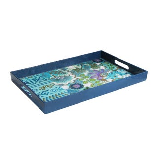 Tracy Porter Rectangle Tray with Handles, Navy/Blue