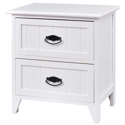 Gymax 2 Drawers Nightstand Storage Wood End Table Side Bedside White