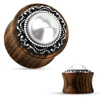 Tribal Pattern Faux Pearl Center Organic Wood Saddle Plug (Sold Individually)
