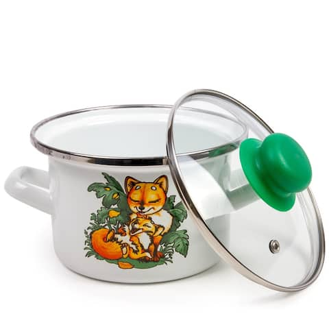 STP Goods Baby Foxes Enamel on Steel 1.6-quart Pot w/Lid