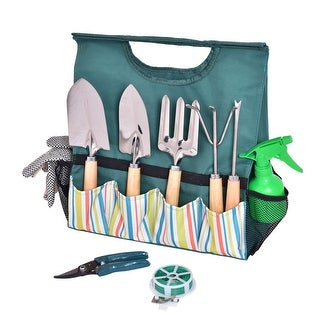 Costway 10PC Gardening Planting Hand Tools Set Gloves Pruner Portable - as pic
