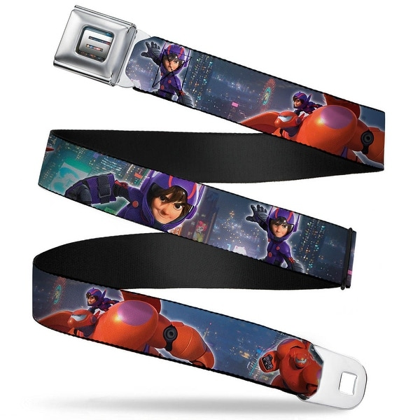 "Big Hero ""6"" Name Blocks Full Color Black Gray White Hiro & Baymax Action Seatbelt Belt"