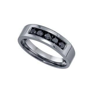 10kt White Gold Mens Round Black Colored Diamond Gunmetal Band Wedding Anniversary Ring 5/8 Cttw