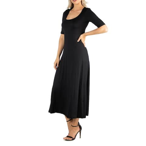 24seven Comfort Apparel Womens Casual Maxi Dress With Sleeves