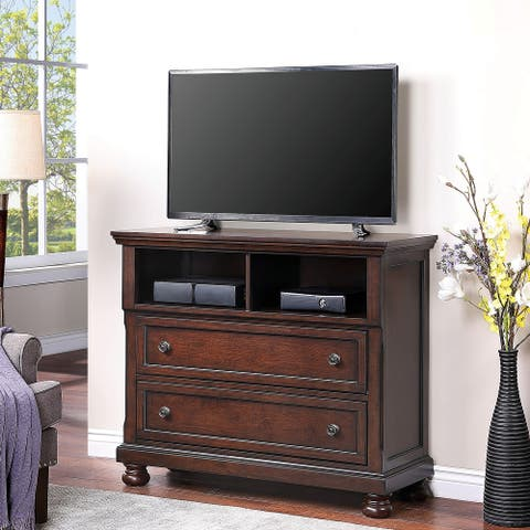 Furniture of America Boeh Transitional Dark Cherry Solid Wood TV Chest