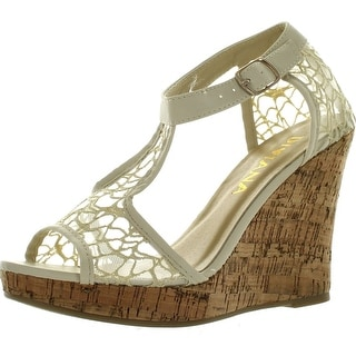 Diviana Womens Kealie-25 Sheer Mesh Cork Platform Ankle Strap Wedge Sandals