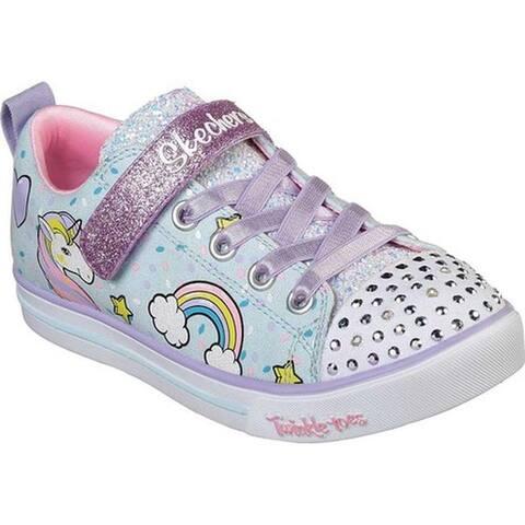 Skechers Girls' Twinkle Toes Shuffles Sparkle Lite Sneaker Light Blue/Multi