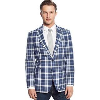 Tommy Hilfiger Mens Blue & White Madras Trim-Fit Sport Coat 36 Regular Blazer