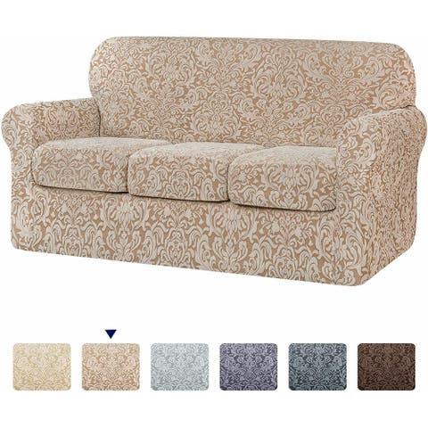 Subrtex 4-piece Stretch Separate Couch Cover Jacquard Damask Sofa