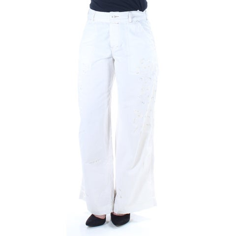 FREE PEOPLE Womens Ivory Button Up Paint Splatter Pants Size: 2