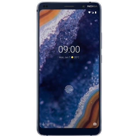 Nokia 9 Pureview TA-1082 128GB GSM Unlocked Android Phone w/13 MP Camera + Nokia Clear Case - Blue