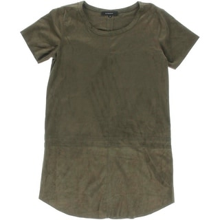 Olivaceous Womens Casual Dress Faux Suede Pullover