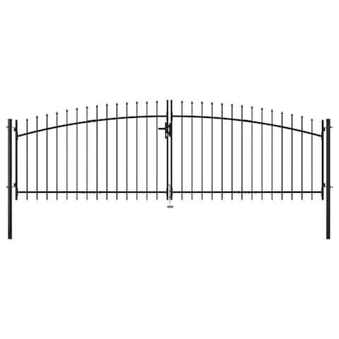 vidaXL Double Door Fence Gate with Spear Top 13.1'x6.6'
