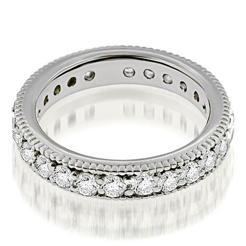 1.30 cttw. 14K White Gold Vintage Style Round Cut Diamond Eternity Band Ring