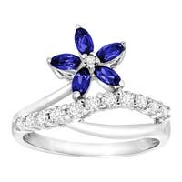 1 ct Created Blue & White Sapphire Flower Ring in 10K White Gold