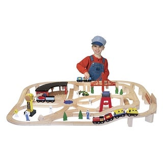 Link to Melissa & Doug Deluxe Wooden Railway Set, 132 Pieces Similar Items in Toy Vehicles
