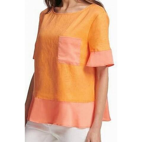 DKNY Women's Shirt Orange Size XL Colorblock Peplum Crewneck Blouse