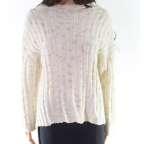 76cb72fe9c1 Maude Vivante White Ivory Gold Knit Large L Junior Pullover Sweater