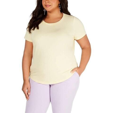 Bar III Women's Yellow Size 2X Plus Scoop Neck Short Sleeve Tee Blouse