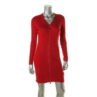 Calvin Klein Womens Petites Sweaterdress Zip Front Ribbed Knit