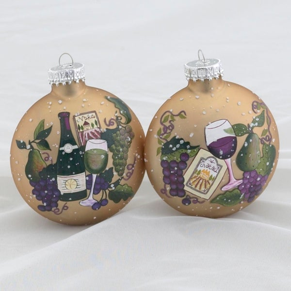 "Set of 2 Tuscan Winery Themed Glass Ball Christmas Ornaments 3.5"" (90mm) - GOLD"