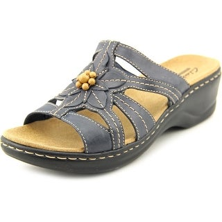 Clarks Lexi Myrtle Women WW Open Toe Leather Blue Slides Sandal