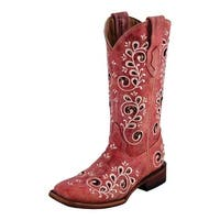 Ferrini Western Boots Womens Square Toe Rockin Lined Red