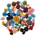 1/2 Pound Lot Lampwork Glass Beads Mix Assorted Styles & Sizes (8 oz) - Thumbnail 0