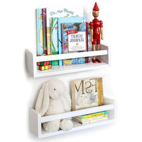 Wallniture Madrid Wood Wall Shelves for Book and Toy Storage (Set of 2)