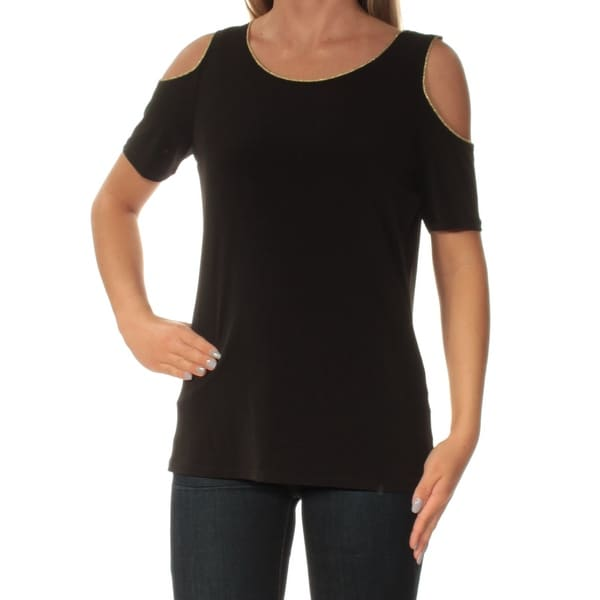 6300c7eda04f03 Shop CALVIN KLEIN Womens Black Cold Shoulder Short Sleeve Jewel Neck Top  Size  XS - Free Shipping On Orders Over  45 - Overstock - 24048197