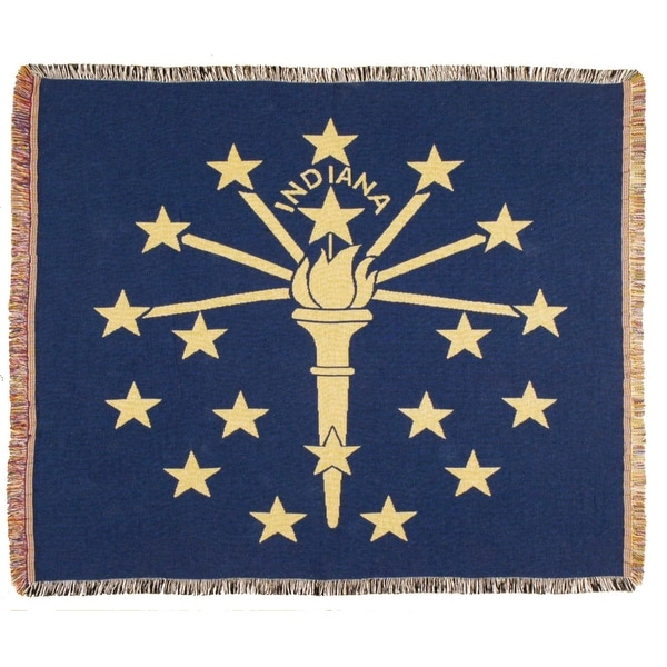 """Blue State Flag of Indiana Woven Tapestry Afghan Throw Blanket 60"""" x 50"""""""
