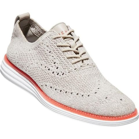 Cole Haan Men's Original Grand Stitchlite Wing Tip Oxford Dove/Optic White Knit/Optic White