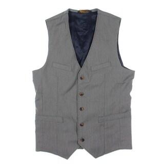 Zara Mens Checkered Five-Button Suit Vest - M