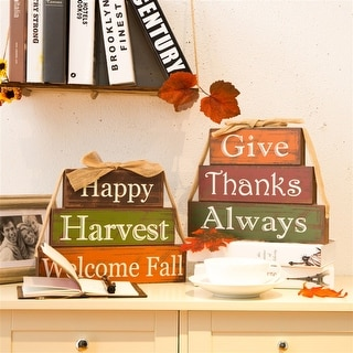 Link to Glitzhome Wooden Word Block Set Similar Items in Outdoor Halloween Decorations