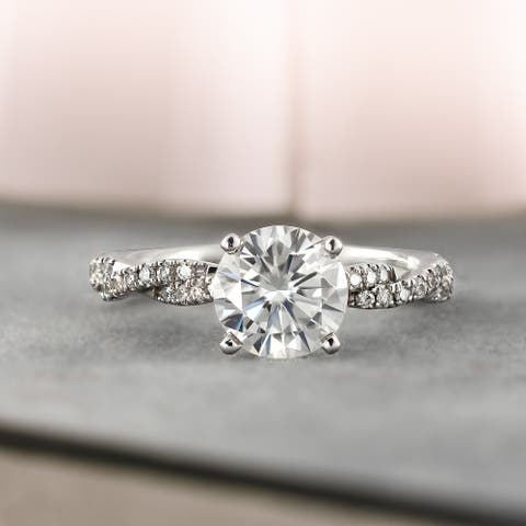 Auriya 14k Gold 1 1/2ctw Twisted Moissanite and Diamond Engagement Ring 1/5ct TDW