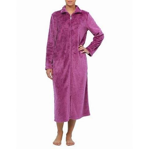 Jasmine Rose Womens Robe Violet Purple Size Medium M Floral Full Zip