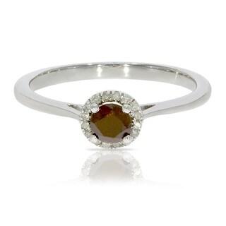 0.37 Ctw Classic Round Diamond Engagement Ring w/ 0.30 Carat Cognac Diamond Halo Ring