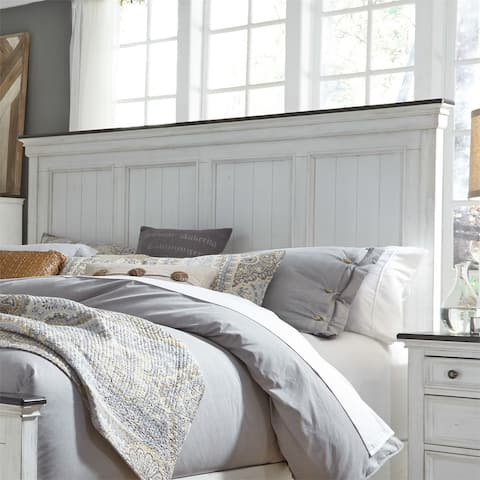Copper Grove Aubervilliers Wirebrushed White King Panel Headboard
