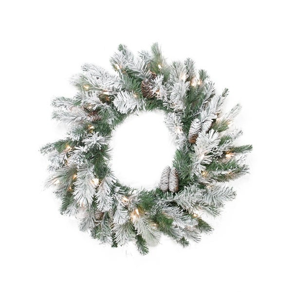 """30"""" Pre-Lit Flocked Victoria Pine Artificial Christmas Wreath - Clear Lights"""