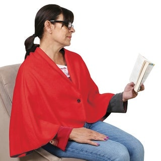 Women's Fleece Cape - Extra Warm Button-In Wearable Blanket - One size