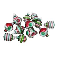 """12ct Christopher Radko Shiny Brite Assorted Finial Shaped Glass Christmas Ornaments 1.75"""" - silver"""