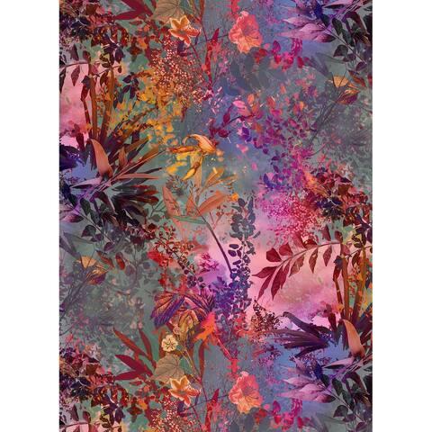 """Brewster 4-211 Wild Garden 72"""" x 100"""" Botanical Non-Pasted - Purple"""