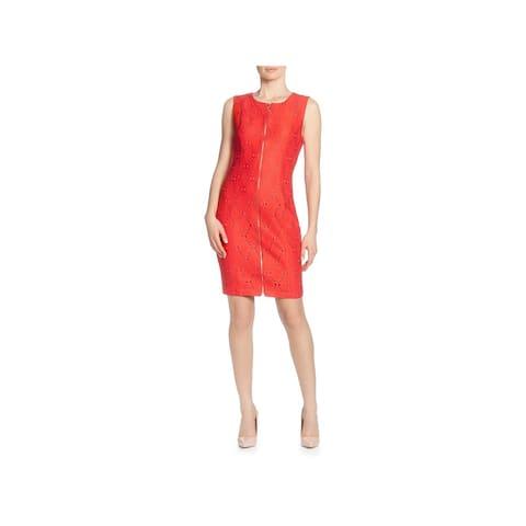 T Tahari Womens Wear to Work Dress Eyelet Knee-Length - Red