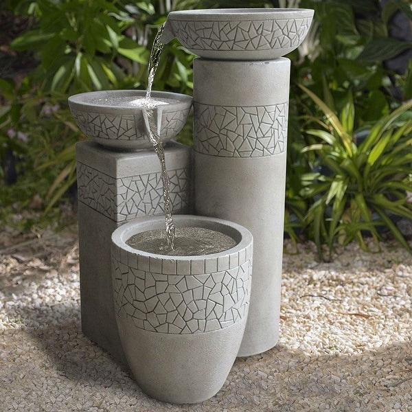 Modern 3-Tier Concrete Cast Stone Fiberglass Bowl Water Fountain