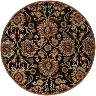 6' Octavia Coal Black and Maroon Red Hand Tufted Wool Round Area Throw Rug
