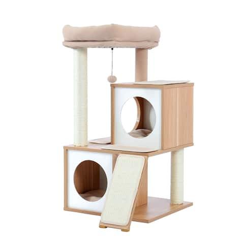 Cat Tree Wood Cool Sisal Scratching Post Kitten Furniture