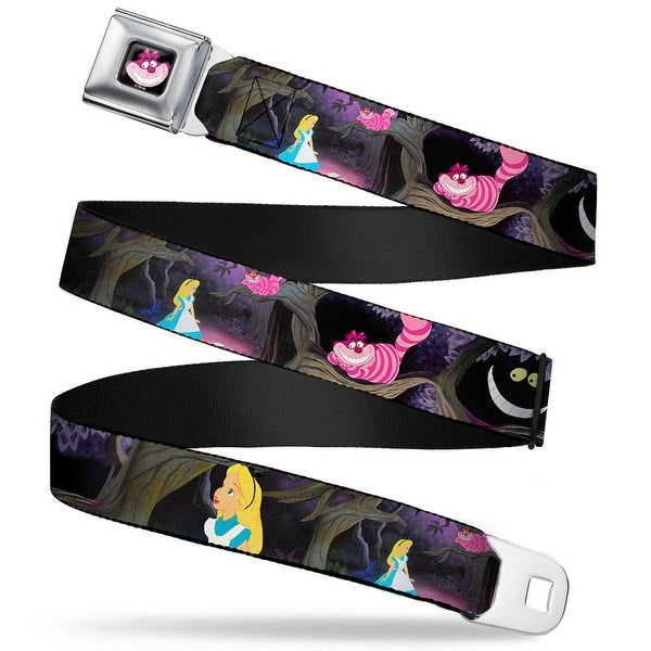 Cheshire Cat Face Full Color Black Alice & The Cheshire Cat Scenes Webbing Seatbelt Belt - XS